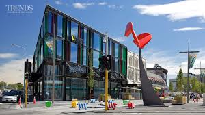 post earthquake commercial building in christchurch on triangular