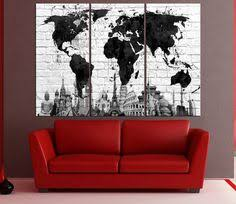 large abstract world map canvas wall art vintage world map canvas