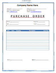 purchase order template professional word templates