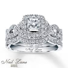 bridal set rings neil bridal set 1 1 6 ct tw diamonds 14k white gold
