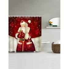 Santa Curtains Santa Claus Printed Christmas Waterproof Shower Curtain Red W