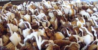chocolate caramel chex mix the taylor house