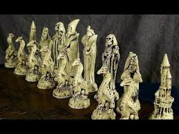 fantasy chess set fantasy wizards dragons death chess set large handmade chess set