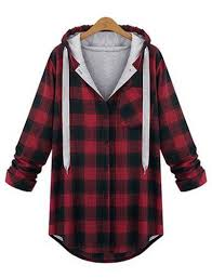 leisure plaid print stringy cheap hoodie online with hood uk