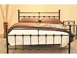 double black antique looking metal iron bed frame with slats