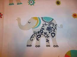 Cynthia Rowley Drapery Cynthia Rowley Lucky Elephant Shower Curtain White Orange Teal
