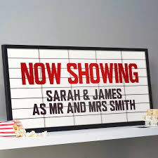 movie themed wedding ideas personalised cinema marquee sign print marquee sign sign