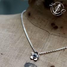 handmade silver necklace images Blue sapphire september birthstone flower necklace handmade in jpg