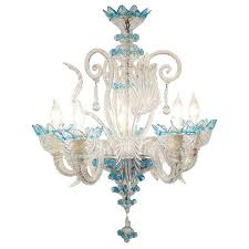 Teal Glass Chandelier Celestial Blue And Crystal Murano Glass Chandelier At 1stdibs