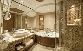 luxury spa bathroom rectangle shape big mirror stone wall layers