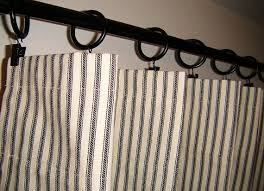 Blue Ticking Curtains 2 Ticking Stripe Panels 50 Wide X 64 Navy Blue Aqua Gray