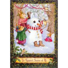 hallmark boxed christmas cards rabbits and snowman by susan