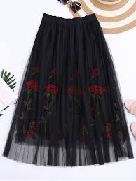 embroidered high waisted mesh skirt black skirts one size zaful