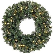 24 inch battery operated pre lit pine wreath