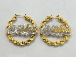 hoop earrings with name personalized 14k gold overlay any name hoop twisty bamboo earrings