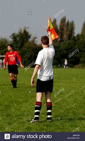 Penalty Flag Football Sunday League Football Linesman Raising Flag Leamington Spa Uk