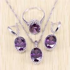 silver purple necklace images 925 sterling silver purple amethyst jewelry set blown biker jpg