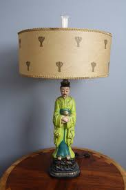 mid century modern ceramic asian lamp fiberglass shade with