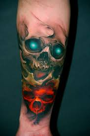 spider skull and cross bullets tattoo design real photo pictures