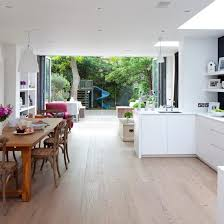 kitchen diner flooring ideas light open plan kitchen bi fold doors door opener and bright