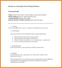 Proforma Of Resume For Job by Proforma Of Resume Art Resume Examples