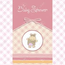 Baby Shower Card Invitations Childish Baby Shower Card With Hippo Toy Royalty Free Cliparts