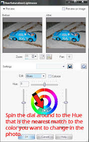 how to change colors in photo with paint shop pro using the hue