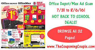 home depot black friday 2016 ad scan office depot office max ad scan for 7 31 to 8 6 16 all 32 pages