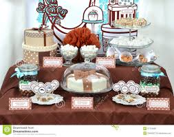 Set Table by Fancy Set Table With Sweets Candies Cake Marshmallows Zephyr