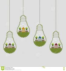 abstract eco light bulbs made of flowers with wooden house and