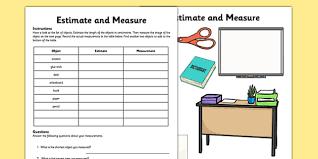 estimate and measure activity sheet measurement estimate