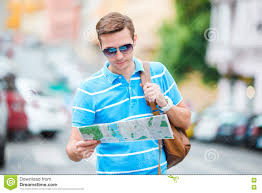 City Map Glasses Young Caucasian Tourist With A City Map And Backpack In Europe