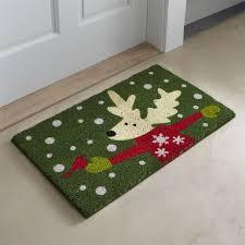 Crate And Barrel Bath Rugs Christmas Reindeer Doormat Crate And Barrel
