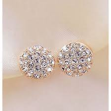 gold earrings uk bridal wedding gold diamanté cubic zirconia pave stud
