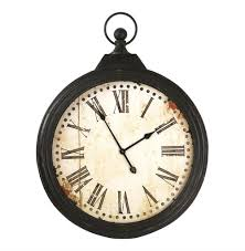 Wall Watch by Rustic Iron Large Pocket Watch Wall Clock Kathy Kuo Home