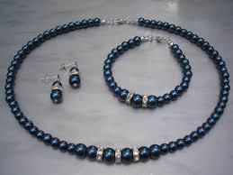 blue pearl necklace images Dark blue pearl necklace jewellery set bridal bridesmaid wedding jpg