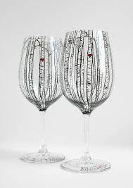 halloween wedding toasting glasses birch tree toasting glasses hand painted wine glasses