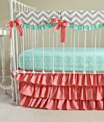 Dumbo Crib Bedding Bumperless Mint And Coral Crib Set Coral Nursery Pinterest