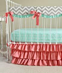 Dumbo Crib Bedding Bumperless Mint And Coral Crib Set Coral Nursery Pinterest
