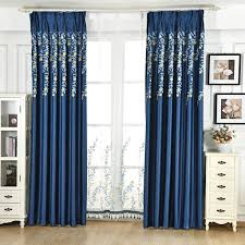 Custom Sheer Drapes Modern Blue Simple Cheap Sheer Blackout Cotton Embroidery Floral