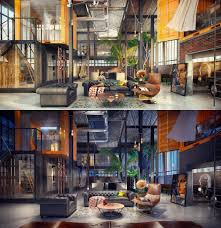 loft living room design with modern industrial style dark colors