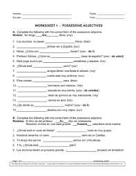 possessive adjectives 8th 9th grade worksheet lesson planet
