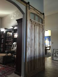 Crown Industrial Barn Door Hardware by Interior Sliding Barn Door Made Of Hickory And Textured Glass