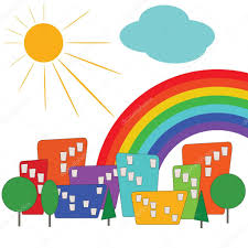 Colorful City Colorful City With Sun And Rainbow U2014 Stock Vector Fotodddelli