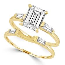 emerald cut wedding set 14k gold vermeil wedding set 1 5 carat diamond essence emerald