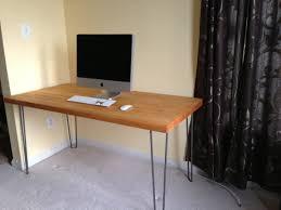 butcher block style desk with hairpin legs modern legs