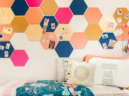 pleasant bedroom with wall accessories of colorful