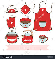 set cute kitchen utensil collection cookware stock vector