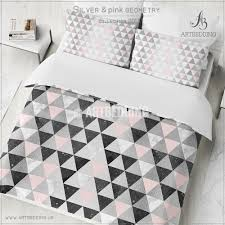 silver triangle geometry duvet cover white watercolor black