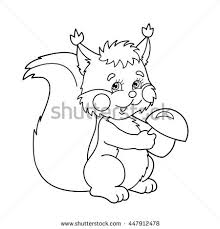 coloring page outline cartoon squirrel mushrooms stock vector
